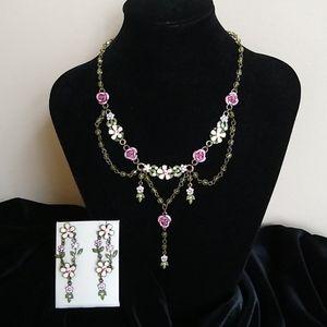 AVON  Nina Ricci Romantic Pink Roses Necklace Set